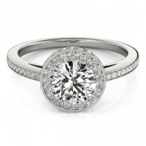 Halo Diamond Engagement Ring Setting Shank Accents Palladium 0.50ct