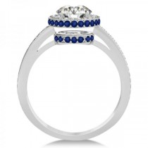 Diamond Halo Engagement Ring Blue Sapphire Accents Platinum (0.50ct)