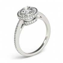 Halo Diamond Engagement Ring Setting Shank Accents Platinum 0.50ct