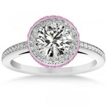 Diamond Halo Engagement Ring Pink Sapphire Accents Platinum (0.50ct)