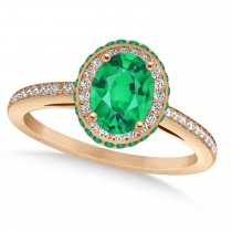 Oval Emerald & Diamond Halo Engagement Ring 14k Rose Gold (1.76ct)