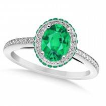 Oval Emerald & Diamond Halo Engagement Ring 14k White Gold (1.76ct)