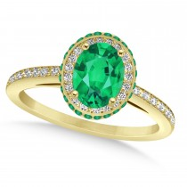 Oval Emerald & Diamond Halo Engagement Ring 14k Yellow Gold (1.76ct)