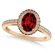 Oval Garnet & Diamond Halo Engagement Ring 14k Rose Gold (1.90ct)