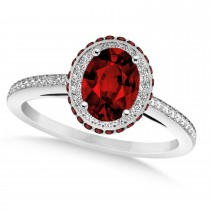Oval Garnet & Diamond Halo Engagement Ring 14k White Gold (1.90ct)