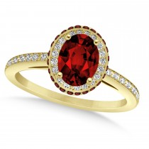 Oval Garnet & Diamond Halo Engagement Ring 14k Yellow Gold (1.90ct)