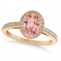 Oval Morganite & Diamond Halo Engagement Ring 14k Rose Gold (2.30ct)