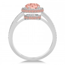 Oval Morganite & Diamond Halo Engagement Ring 14k White Gold (2.30ct)|escape