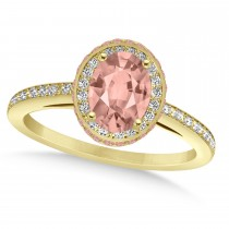 Oval Morganite & Diamond Halo Engagement Ring 14k Yellow Gold (2.30ct)