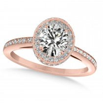 Oval Moissanite & Diamond Halo Engagement Ring 14k Rose Gold (1.71ct)