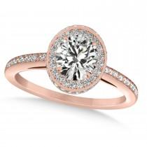 Oval Moissanite & Diamond Halo Engagement Ring 14k Rose Gold (1.71ct)