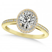 Oval Moissanite & Diamond Halo Engagement Ring 14k Yellow Gold (1.71ct)