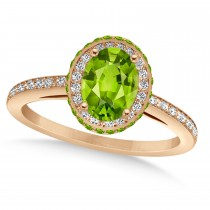 Oval Peridot & Diamond Halo Engagement Ring 14k Rose Gold (1.85ct)