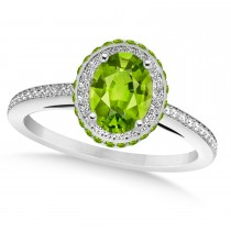 Oval Peridot & Diamond Halo Engagement Ring 14k White Gold (1.85ct)
