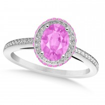 Oval Pink Sapphire & Diamond Halo Engagement Ring 14k White Gold (2.00ct)