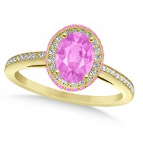 Oval Pink Sapphire & Diamond Halo Engagement Ring 14k Yellow Gold (2.00ct)