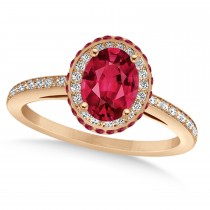 Oval Ruby & Diamond Halo Engagement Ring 14k Rose Gold (2.00ct)