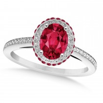 Oval Ruby & Diamond Halo Engagement Ring 14k White Gold (2.00ct)