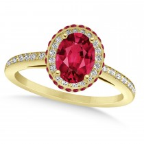 Oval Ruby & Diamond Halo Engagement Ring 14k Yellow Gold (2.00ct)