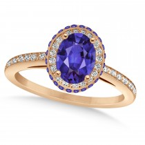 Oval Tanzanite & Diamond Halo Engagement Ring 14k Rose Gold (2.00ct)