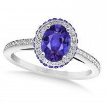 Oval Tanzanite & Diamond Halo Engagement Ring 14k White Gold (2.00ct)