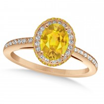 Oval Yellow Sapphire & Diamond Halo Engagement Ring 14k Rose Gold (2.00ct)