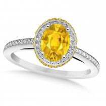 Oval Yellow Sapphire & Diamond Halo Engagement Ring 14k White Gold (2.00ct)