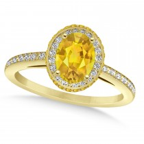 Oval Yellow Sapphire & Diamond Halo Engagement Ring 14k Yellow Gold (2.00ct)