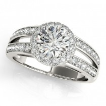 Diamond Split Shank Halo Engagement Ring 14k White Gold (1.50ct)
