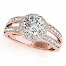 Diamond Split Shank Halo Engagement Ring 18k Rose Gold (1.50ct)