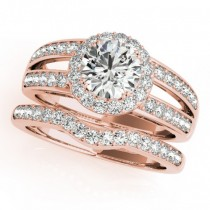 Diamond Split Shank Halo Bridal Ring Set 18k Rose Gold (1.74ct)