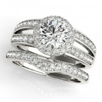 Diamond Split Shank Halo Bridal Ring Set 18k White Gold (1.74ct)