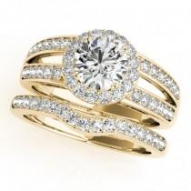 Diamond Split Shank Halo Bridal Ring Set 18k Yellow Gold (1.74ct)