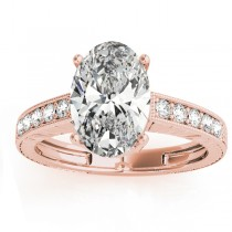 Diamond Accented Oval Engagement Ring Setting 14k Rose Gold 0.10ct