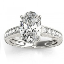 Diamond Accented Oval Engagement Ring Setting 18k White Gold 0.10ct