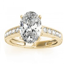 Diamond Accented Oval Engagement Ring Setting 18k Yellow Gold 0.10ct
