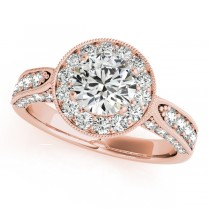 Vintage Milgrain Round Diamond Engagement Ring 14k Rose Gold (1.75ct)