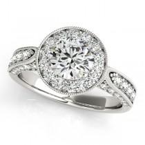 Vintage Milgrain Round Diamond Engagement Ring 18k White Gold (1.75ct)