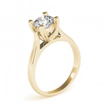 Solitaire Cathedral Prong-Set Engagement Ring Setting 18K Yellow Gold