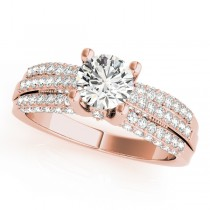 Diamond Sidestone Accented Multi Row Engagement Ring 14k Rose Gold (1.23 ct)