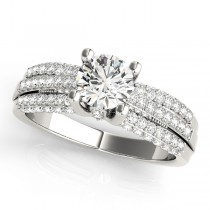 Diamond Sidestone Accented Multi Row Engagement Ring 18k White Gold (1.23 ct)