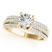 Diamond Sidestone Accented Multi Row Engagement Ring 18k Yellow Gold (1.23 ct)