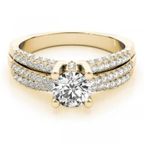 Diamond Accented Multi-Row Engagement Ring 18k Yellow Gold (1.23 ct)