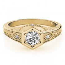 Diamond Antique Style Six Prong Engagement Ring 18k Yellow Gold (0.37ct)