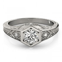 Diamond Antique Style Six Prong Engagement Ring Platinum (0.37ct)