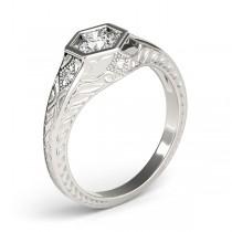 Diamond Antique Style Six Prong Engagement Ring Platinum (0.37ct)