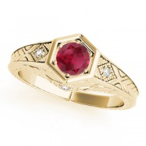 Ruby & Diamond Antique 6-Prong Engagement Ring 18k Yellow Gold (0.37ct)