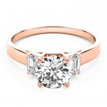 Trio Emerald Cut Diamond Engagement Ring 14k Rose Gold (0.30ct)