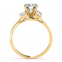 Trio Emerald Cut Diamond Engagement Ring 14k Yellow Gold (0.30ct)