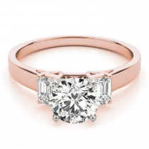 Trio Emerald Cut Diamond Engagement Ring 18k Rose Gold (0.30ct)